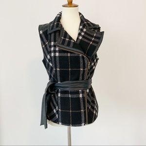 CAbi Plaid Vest Vegan Leather Trim and Tie